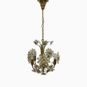 Gilt Brass and Crystal Flower Chandelier from Palwa, 1960s