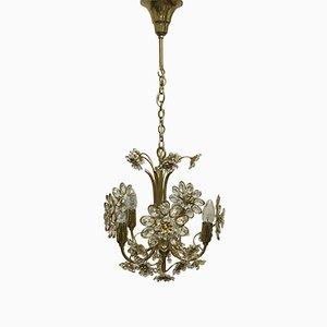 Lampadario floreale in ottone dorato e cristallo di Palwa, anni '60
