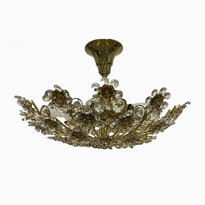 Gilt Brass & Crystal Flower Chandelier from Palwa, 1960s