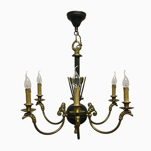 French Empire Style Gilt Bronze Eagle Head Chandelier, 1930s