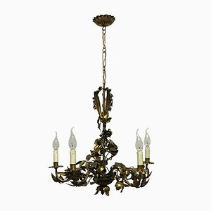 Gilt Iron Six-Light Chandelier, 1920s