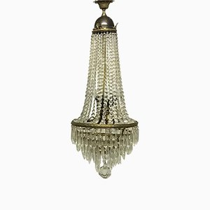 Italian Empire Style Crystal and Brass Chandelier, 1950s