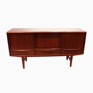 Low Teak Sideboard with Sliding Drawers & Shelves, 1960s