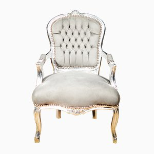Silver Wood & Light Gray Velvet Armchair, 1930s