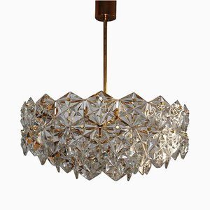 Large Royal Hexagonal Crystal & Gilt Brass Chandelier from Kinkeldey, 1960s