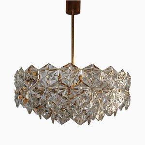 Large Royal Hexagonal Crystal & Gilt Brass Chandelier from Kinkeldey, 1960s