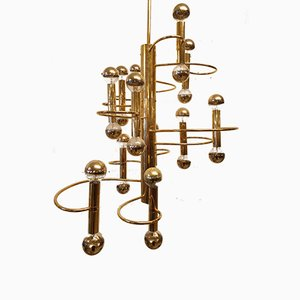 Mid-Century Brass Chandelier by Gaetano Sciolari for Boulanger, 1970s