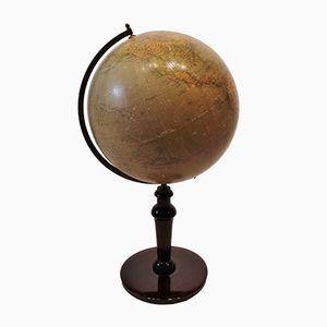 Globus mit Gestell aus poliertem Holz & Messing, 1940er