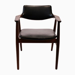 Rosewood & Black Leather Armchair by Erik Kirkegaard, 1960s