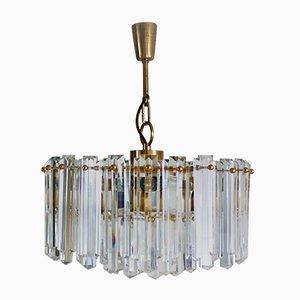 Lámpara de araña Mid-Century grande de vidrio y latón dorado de J.T. Kalmar