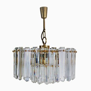 Large Mid-Century Glass and Gilt Brass Chandelier from J.T. Kalmar