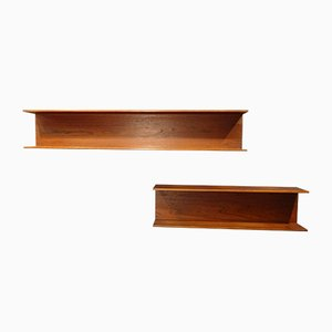 Teak Wall Shelves by Walter Wirz for Wilhelm Renz, 1960s, Set of 2