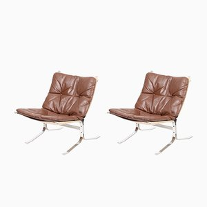 Danish Leather & Steel Lounge Chairs, 1960s, Set of 2