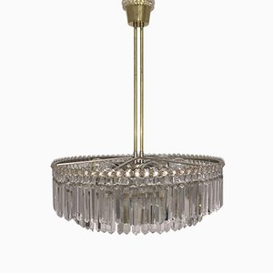 Large Nickel & Cut Crystal Chandelier from Bakalowits & Söhne, 1960s