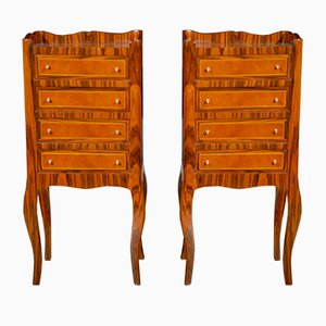 Napoleon III Style Walnut Nighstands, 1930s, Set of 2