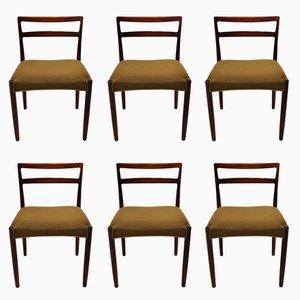 Dänische Esszimmerstühle aus Palisander & grünem Stoff von Knud Færch, 1960er, 6er Set