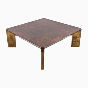 Walnut Coffee Table with Brass Legs by Milo Baughman, 1970s