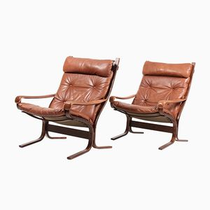 Mid-Century Leather Lounge Chairs by Ingmar Relling for Westnofa, Set of 2