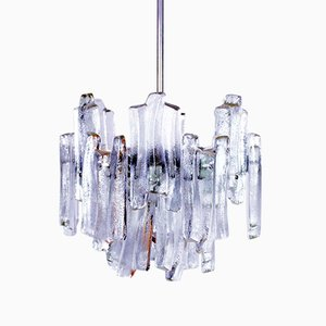 Frosted Glass Chandelier from Kalmar, 1960s