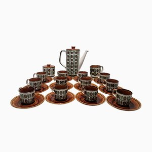 Walnut Ceramic Coffee Set from Boch, 1970s