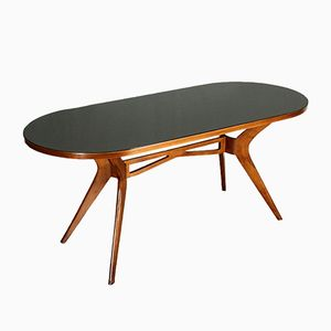 Mid-Century Glass and Stained Beech Table