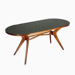 Mid-Century Tisch mit Gestell aus Buche & getönter Glasplatte
