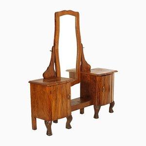 Tocador antiguo de nogal y madera nudosa, años 10