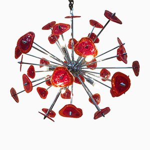 Red Murano Glass Pulegoso Sputnik Chandelier from Italian light design