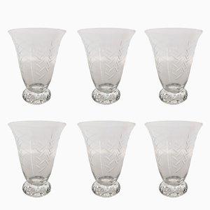 Model Kim Crystal Wine Glasses de Daum, años 50. Juego de 6