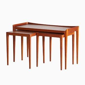 Tavolini ad incastro in teak di Kurt Østervig per Jason Møbler, anni '60