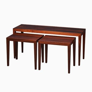 Tavolini moderni in palissandro di Severin Hansen per Haslev Møbelsnedkeri, anni '60