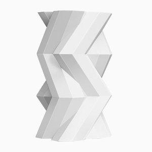 Vase Fortress Tower en Céramique Blanche Craquelée par Bohinc Studio