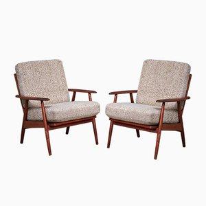Minimalistische dänische Sessel mit Gestell aus Teak, 1960er, 2er Set