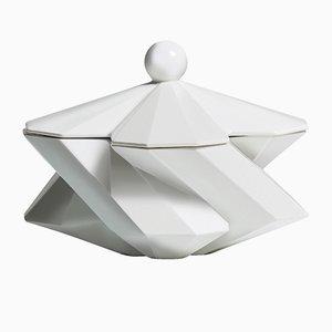 White Crackle Ceramic Fortress Treasury Box by Bohinc Studio