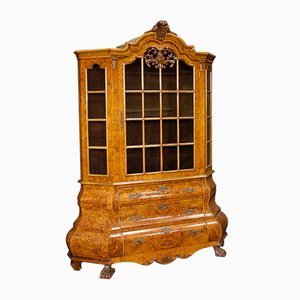 Dutch Burl Walnut, Beech and Mahogany Wood Display Cabinet, años 50