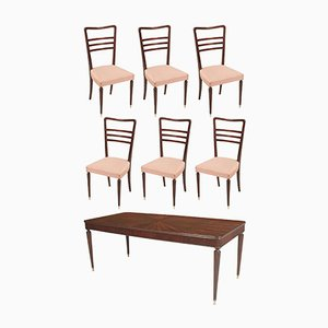 Mid-Century Mahogany Dining Table & 6 Chairs Set, 1930s