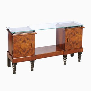Art Deco Burl Walnut & Ebonized Walnut Entrance Cabinet