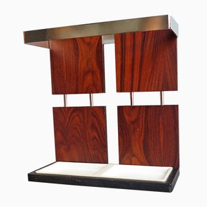 Rosewood Veneer & Chrome-Plated Metal Umbrella Stand, 1970s
