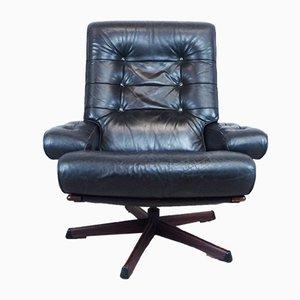 Leather Swivel Lounge Chair from Göte Möbler, 1970s