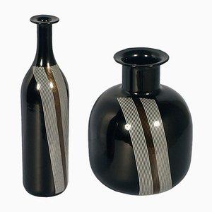Schwarz-braune Vasen aus Muranoglas, 1960er, 2er Set