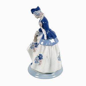 Große mehrfarbige italienische Frauenfigur aus Keramik von Porcelain Cacciapuoti, 1930er