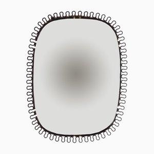 Specchio a muro con bordi in ottone di Josef Frank, anni '50