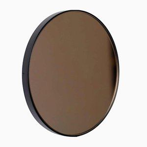 Large Round Bronze Tinted Orbis Mirror with Black Frame by Alguacil & Perkoff Ltd
