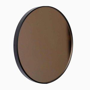 Grand Miroir Rond Orbis Teinté Bronze avec Cadre Noir par Alguacil & Perkoff Ltd