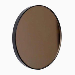 Medium Round Bronze Tinted Orbis Mirror with Black Frame by Alguacil & Perkoff Ltd