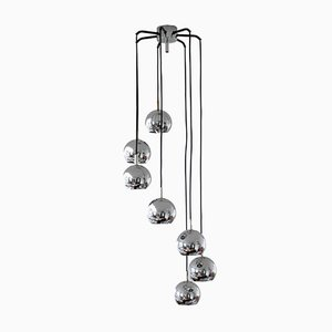 Space Age 7-Light Chrome Ceiling Lamp from Richard Essig, 1970s
