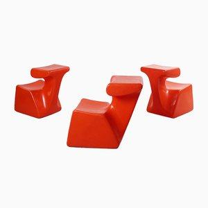 Sillas infantiles Zocker naranjas de Luigi Colani para Top System Burkhard Lübke, años 70. Juego de 3