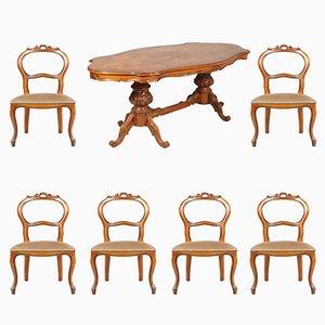 Tavolo da pranzo Art Déco in radica Ferrarese con sei sedie, anni '30
