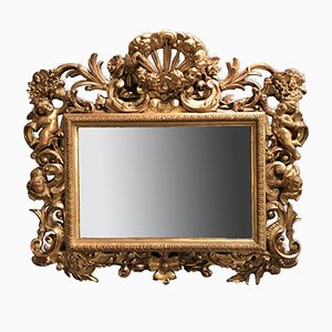 Miroir Rectangulaire Antique Sculpté et Doré