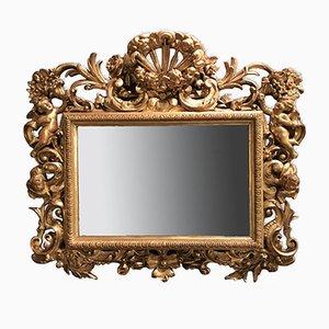 Rechteckiger antiker geschnitzter und vergoldeter Spiegel